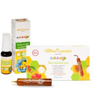 Pachet APIJUNIOR tonic imunitate 10x10ml  + Spray Apijunior 20 ml